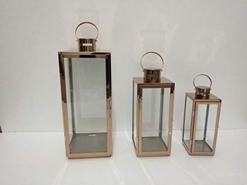 Pebble Lane Living JC6629-SML Indoor/Outdoor Candle Lanterns, Stainless Steel Frame & Tempered Glass Panes, Rose Gold, Assorted Set of 3 -