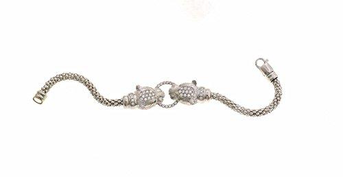 Bracelet à Tricoter avec tête de panthère semizirconata Poids 16,5GM mesure 18cm en argent sterling 925hypoallergénique plaqué or blanc