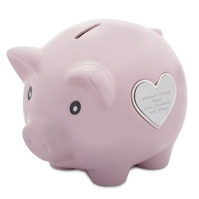 Things Remembered Personalized Light Pink Ceramic Piggy Bank, Toy Bank with Engraving Included