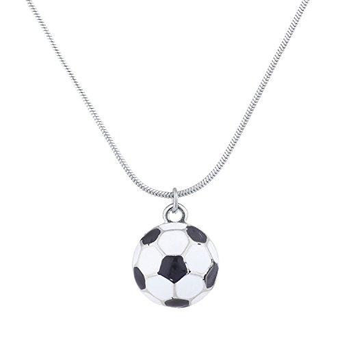 Anklet Soccer (Lux Accessories SilverTone Soccer Ball Mom Sports Novelty Pendant Necklace)
