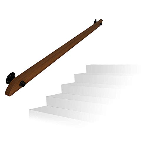 - YIKE-1ft-20ft Pine Stair Railing, Solid Wood Wall Railing Villa Loft Indoor and Outdoor Old Man Handrail, with Wrought Iron Disc