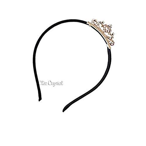 Olivia Rhinestone Tiara Headband (black.clear stones)