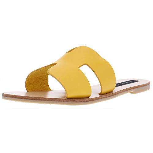 STEVEN by Steve Madden Women's Greece Sandal Yellow Leather 6 M ()