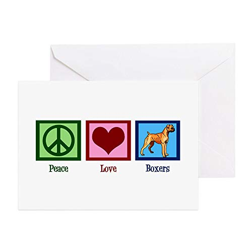 CafePress Peace Love Boxer Dog Greeting Card, Note Card, Birthday Card, Blank Inside Glossy