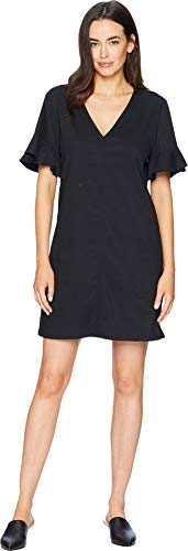Lilla P Ruffle Sleeve Shift Dress Black XS