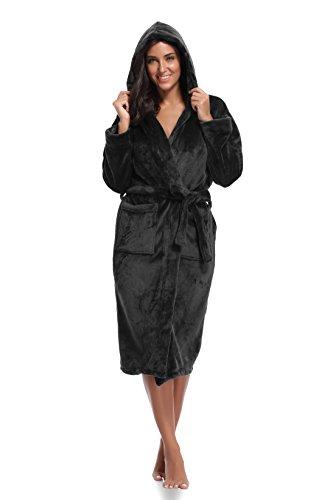Luvrobes Women's Fleece Long Hooded Kimono Robe(XS/S,Black)
