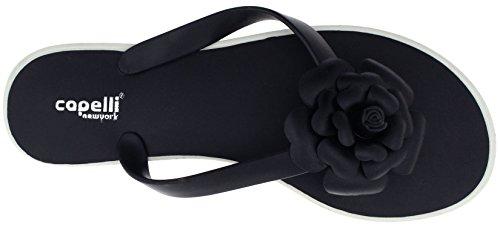 Capelli New York Ladies Fashion Flip Flops With Jelly Flower Black 6 TlLQzCG