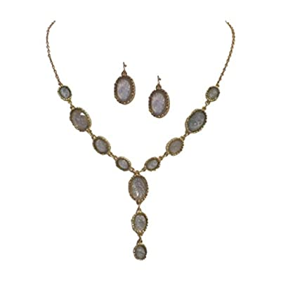 Gold Tone Chain Gray Oval Bib Bubble Necklace Earring Jewelry Set for Women for cheap