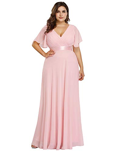 Ever-Pretty V-Neck Ruffle Sleeves Vintage Wedding Maxi Dress Plus Size Pink US24