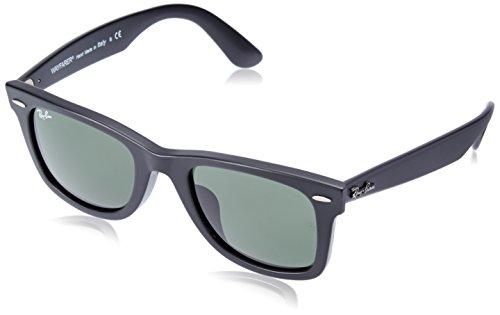 Ray-Ban RB2140F Wayfarer Asian Fit Sunglasses, Matte Black/Green, 52 ()