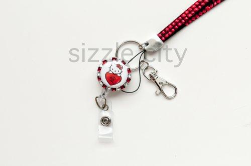 (SET RED Rhinestone Lanyard and LOVE HEART Hello Kitty Id Badge Reel)