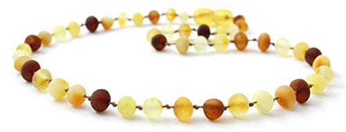 Unpolished Baltic Amber Teething Necklace for Baby or Toddler - Size 11 inches (28 cm) - Multicolored - BoutiqueAmber (Mix, 11 inches)