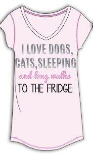 Sleep & Co. Womens I Love Dogs Cats Sleeping Dorm Sleepshirt Light Pink 3X-Large