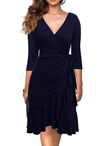 Berydress Women's Classic 3/4 Sleeve V-Neck Knee-Length Sheath Ruffle Cocktail Work Black Faux Wrap Dress (L, 6086-Navy)