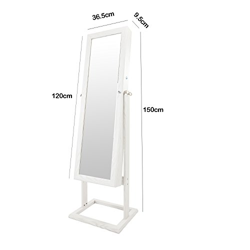 Bonnlo Jewelry Armoire Stable Square Stand with 6 LEDs with 4 Adjustable Angle Tilting, Well Packed by styrofoam & Stiffer Covering, Lockable Heavy Duty Bedroom Make up Mirror Cabinet Organizer Closet by Bonnlo (Image #4)