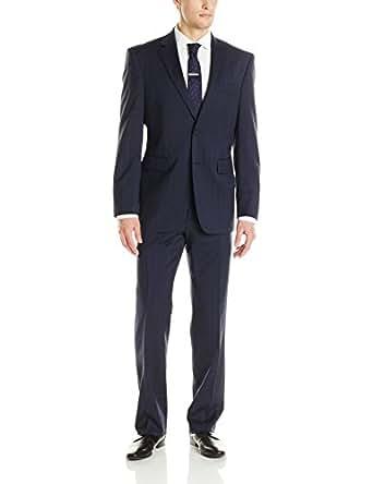 Nautica Men's 2 Button Side Vent Classic Fit Plaid Suit with Flat Front Pant, Blue, 44 Long