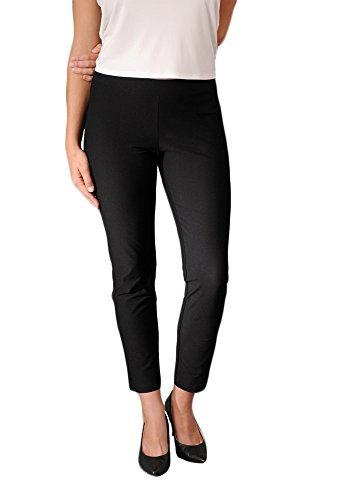 Eileen Fisher womens SLIM ANKLE PANT W/YK in Black size LRG by Eileen Fisher