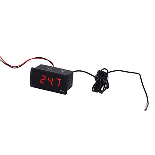 SODIAL PT-6 12V 40~110 Grados Cent/ígrados Term/ómetro de Alta Precisi/ón Embebido Term/ómetro Digital de Alta Precisi/ón Integrado Term/ómetro Digital