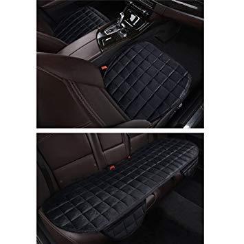 Uniqus 3 PCS /Set cuscinetto di copertura auto calda Five Seats Universal Two Front Row Seat Covers e One Back Row Seat Cover Car non slip Chair Pad Hot Car Mats No Back Plush Cushion (Black)