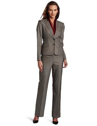 Anne Klein Women's Glen Plaid Jacket and Pant Suit Set, Charcoal Multi, 2