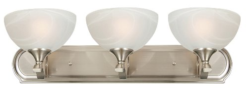 Yosemite Home Decor Glacier Point Bathroom Vanity Light with Ivory Cloud Shades, 3-Light, Satin Nickel (Ivory Bathroom Vanity)