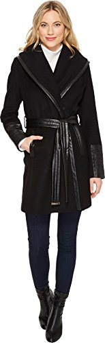 Via Spiga Women's Single Breasted Scarpa Lightweight Jacket With Hood and Tie Belt, Positano Black, L