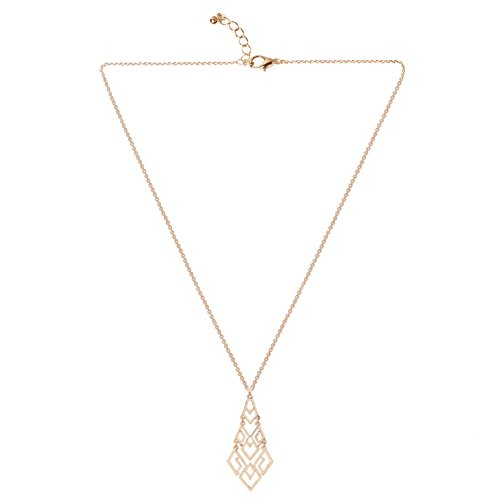 Pendant Chandelier Necklace (D EXCEED Women's Cutout Diamond Chandelier Pendant Necklace 30