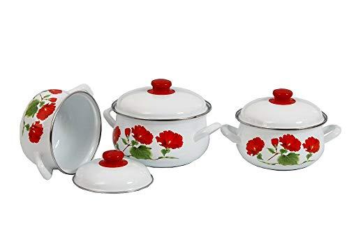 TkUniware 6 PCS Rose Print Kitchen, Dining & Bar Cookware Set 2.4,3.3,5.6 Liter 5009 from TkUniware