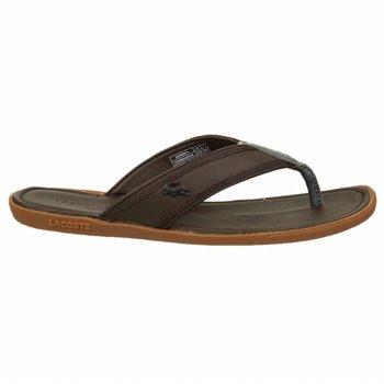 bb6de603c69 Lacoste Carros 5 Mens Brown Leather Flip Flops Sandals Shoes 8 UK UK 8   Amazon.co.uk  Shoes   Bags