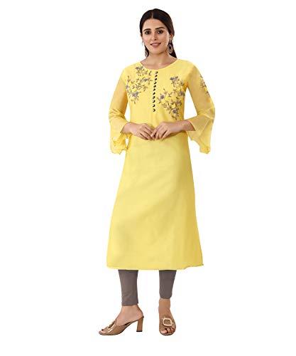 Areum Yellow Silk Hand Embroidered Kurti Kurta for Women