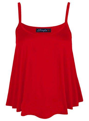 Bretelles Red Femme Manches Évasée Top Cami Plus Admirefashion Gilet Taille Swing À Uni Neuf Sans Pour BwFZg