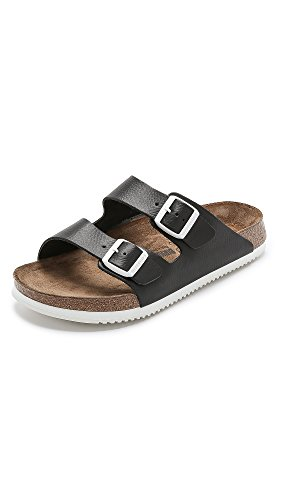 Birkenstock Women's Arizona Super Grip Soft Footbed Sandal Black Leather Size 45 M EU by Birkenstock