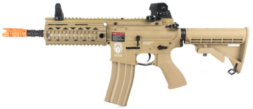 (g&g gr4 100y dst electric airsoft gun advanced blowback fps-330 w/ retractable stock, 1,000 rounds of premium bb's (desert tan)(Airsoft Gun))