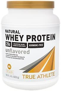 True Athlete Natural Whey Protein Unflavored, 20g of Protein per Serving Probiotics for Digestive Health, Enzymes for Protein Digestion NSF Certified for Sport 1.4 Pound Powder