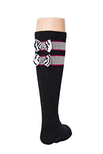 Black Tot Jocks Girls Sports Socks Pink, Black and Silver with Zebra Print Bow Kids Size 9-2.5, Soccer, Volleyball, Field Hockey, Softball