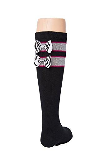 Black Tot Jocks Girls Sports Socks Pink, Black and Silver wi