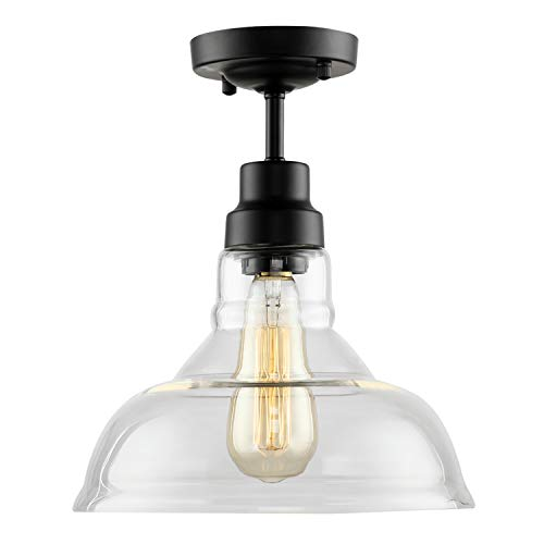 - HMVPL Industrial Edison Close to Ceiling Light, Rustic Mini Semi Flush Mounted Pendant Lighting with Clear Glass Shade for Kitchen Island Dining Room Living Room Bedroom
