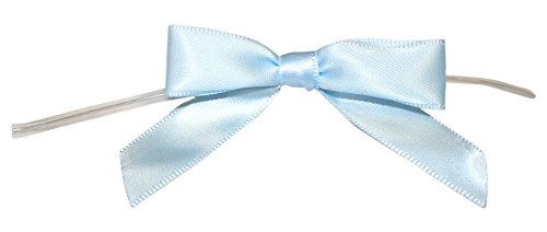 Reliant Ribbon Satin Twist Tie Bows - Small Ribbon, 5/8 Inch X 100 Pieces, Light Blue