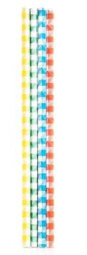 Kikkerland Plaid Paper Straws, Box of 144