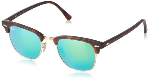 Ray-Ban RB3016 Clubmaster Square Sunglasses, Tortoise & Gold/Green Flash, 51 mm