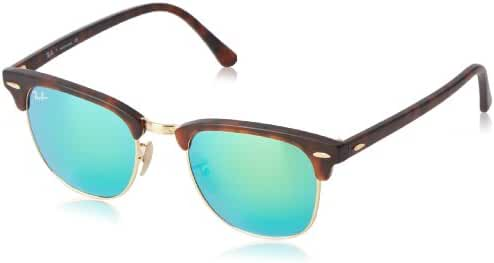 Ray-Ban CLUBMASTER - SAND HAVANA/GOLD Frame GREY MIRROR GREEN Lenses 51mm Non-Polarized