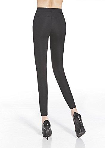 Leggings Adele, elastisch, figurformend, elegant mit Kunstledereinsätzen