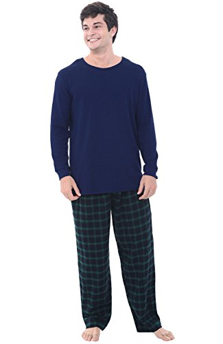 Alexander Del Rossa Mens Flannel Pajamas, Thermal Knit Top Cotton Pj Set, 2XL Blue and Green Plaid (A0706P232X) (Pants Set Flannel Pajama)