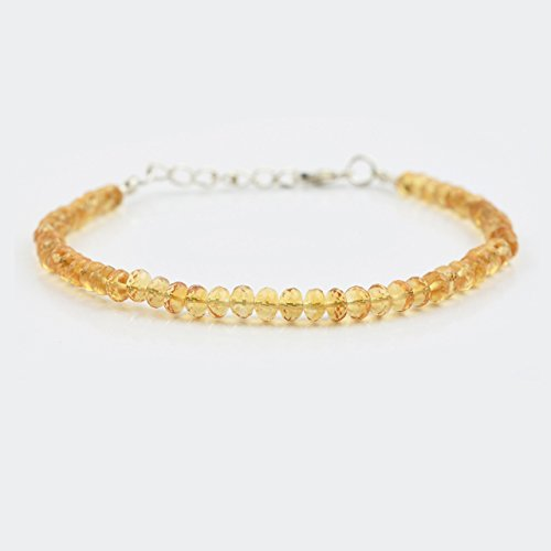 (Natural Yellow Citrine Rondelle Beads Bracelet with Sterling Silver Findings 6.50