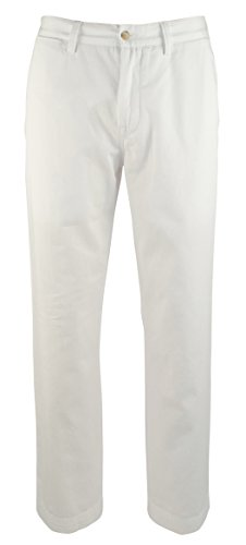 POLO RALPH LAUREN Mens Classic Fit Flat Front Chino Pants White - Pants Chino Ralph Lauren