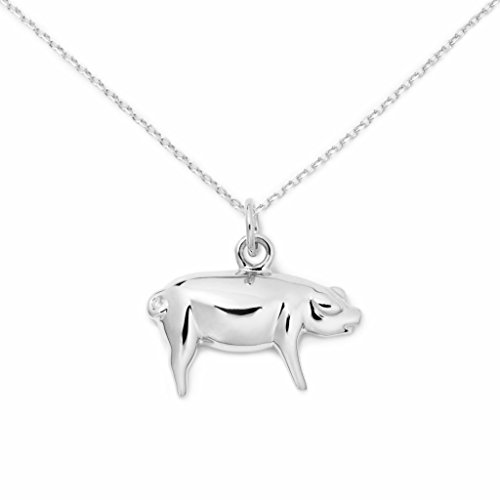 Pig Sterling Silver Necklace, Foodie Jewelry