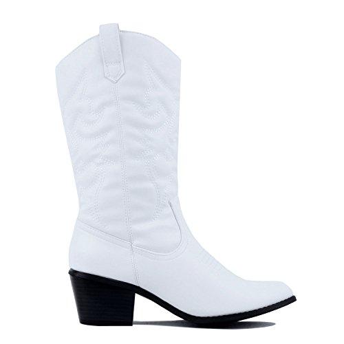 West Blvd Miami Cowboy Western Boots, White Pu, 7.5