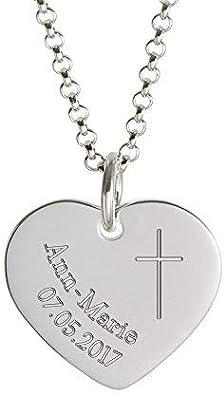 Kreuz Engel Herz Anhänger mit Namen Gravur Taufe Kommunion mit Kette Silber 925