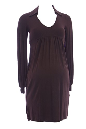 Olian Maternity Women's Collared V-Neck Empire Wasit Dress Small Brown