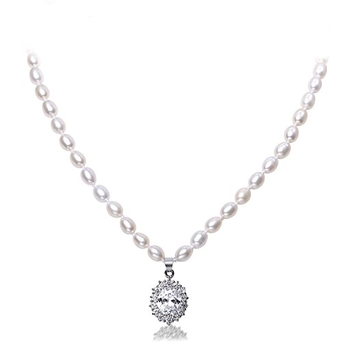 Bang-pa Luxury 6-7mm Freshwater Pearl & Shinny Crystal Pendant Necklace Wedding Jewelry - Shopping Indiana Outlet